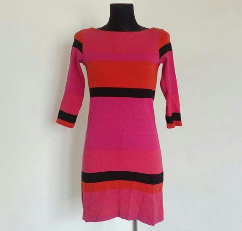 Sukienka w paski czerwona różowa Xs S 34 36 taliowana