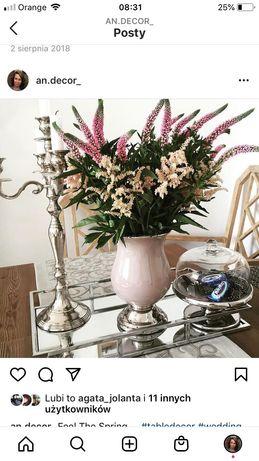 Sprzedam zestaw taca patera wazon i świecznik glamour