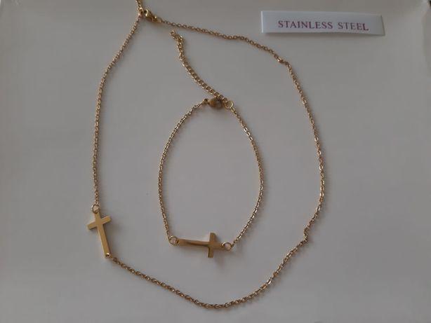 Naszyjnik oraz bransoletka oba z krzyżykiem