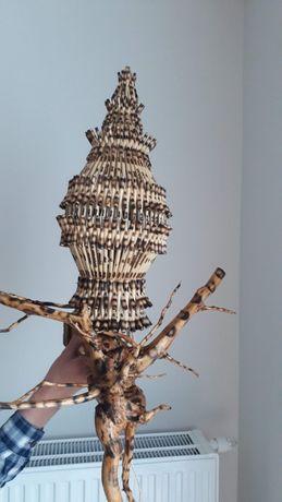 Drewniana lampka na ścianę, ręcznie robiona