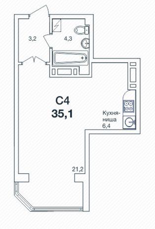 1-комн. квартира 35 кв.м. 19200 у.е. РАССРОЧКА!