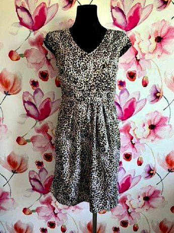 dunnes sukienka modny wzór panterka zip nowa hit roz.38