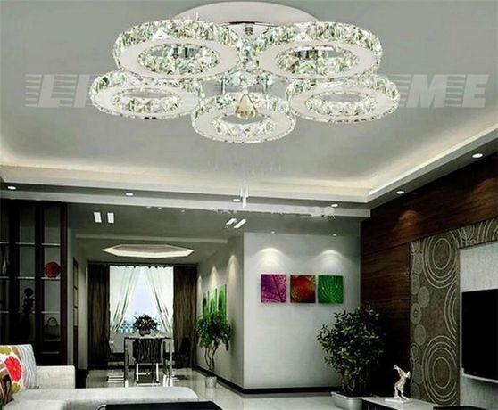 Lampa LED kryształowa żyrandol plafon salon ciepła lub zimna