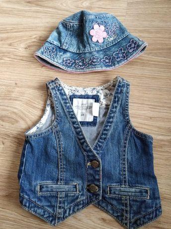 Kamizelka jeans, kapelusz jeans h&m dla dziewczynki rozmiar 80,86