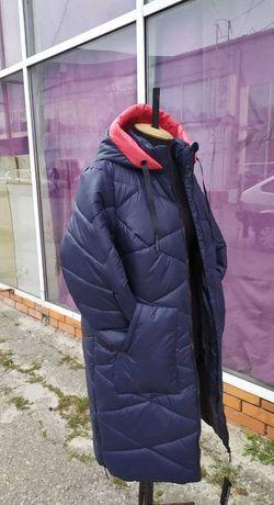 Женский зимний пуховик 54р пальто длинное куртка новая с капюшоном