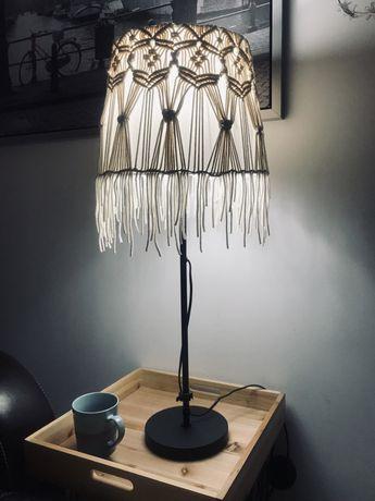 Lampa stołowa abażur makrama boho rękodzieło