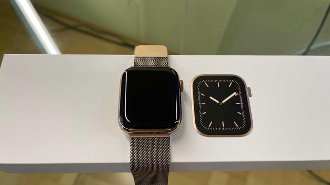 Apple Watch 44 Series 5 Gold cellular+gps stal nierdzewna gwarancja