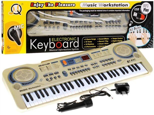 Keyboard Organy Syntezator Mikrofon + Wejście Usb Mq-811Usb