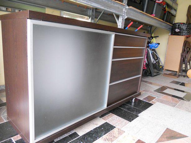 komoda - ciemny orzech ze srebrnym aluminium