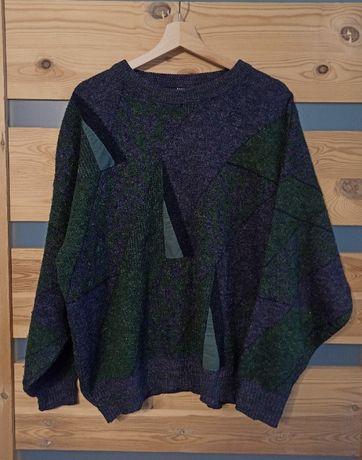 Angelo Litrico wełniany sweter geometryczny vintage retro