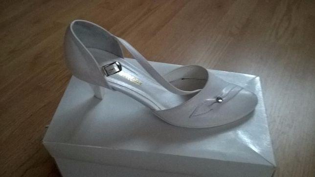 Buty ślubne czółenka białe