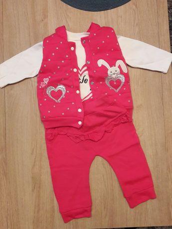 Komplet 3 częściowy dres 6-9m 68-74 spodnie kamizelka bluzka