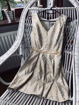 Sukienka kremowo-złota, ze zdobieniami, Antall rozmiar M