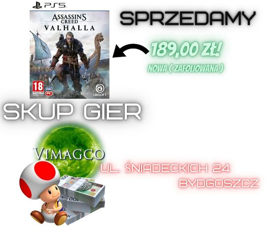 Assassin's Creed Valhalla PL PlayStation 5 Nowa Zafoliowana !!!