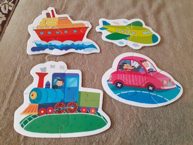 Grube i duże puzzle zwierzęta i pojazdy