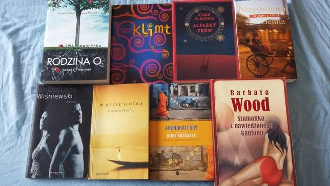 Zestaw 8 książek, kobieca literatura, Barbara Wood, J. Wiśniewski