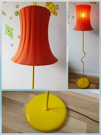 Lampa IKEA stojąca żółta, pomarańczowy klosz
