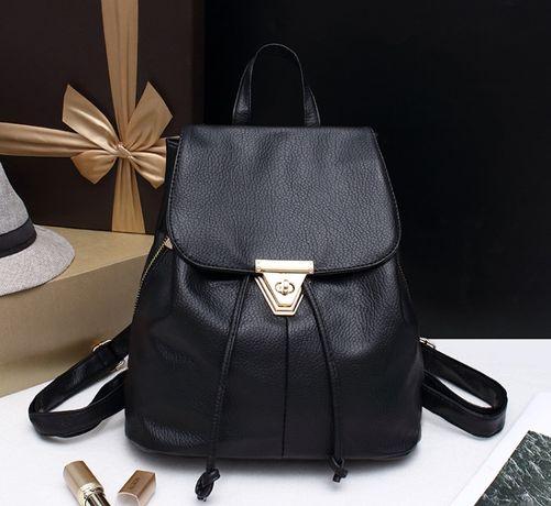 Женский классический рюкзак мешок черный на затяжках шнурках эко кожа