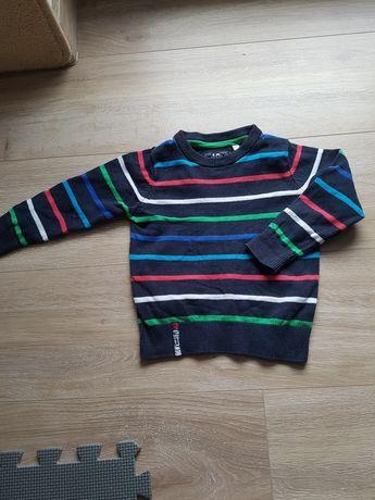 Granatowy sweterek w kolorowe paski r. 92 C&A Palomino