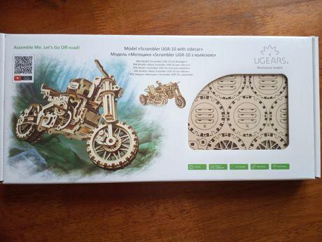 3D пазл UGEARS механический мотоцикл с коляской