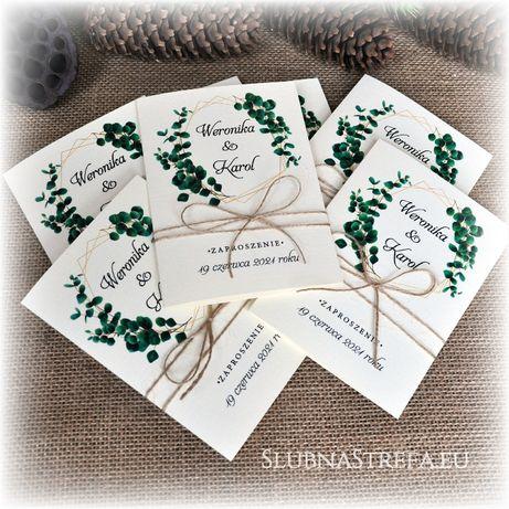 Zaproszenie ślub wesele ruskus liście zielone geometryczne zaproszenia