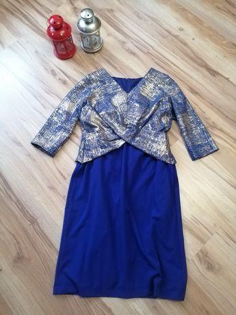 Śliczna niebiesko złota sukienka elegancka wesele do biura 42 44 L XL