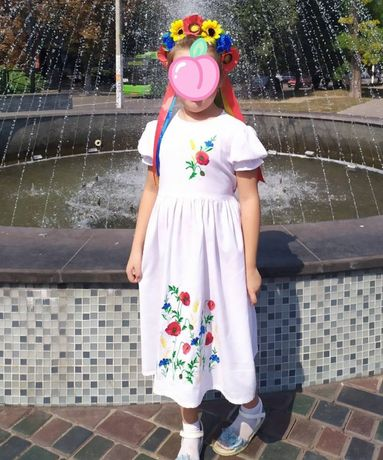 Платье вышиванка + венок!