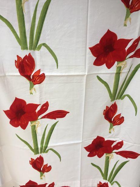 Zasłony 2 szt. białe w kwiaty