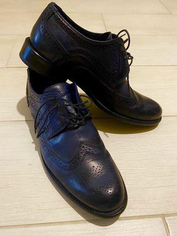 Темно-синие кожа туфли броги оксфорды класика