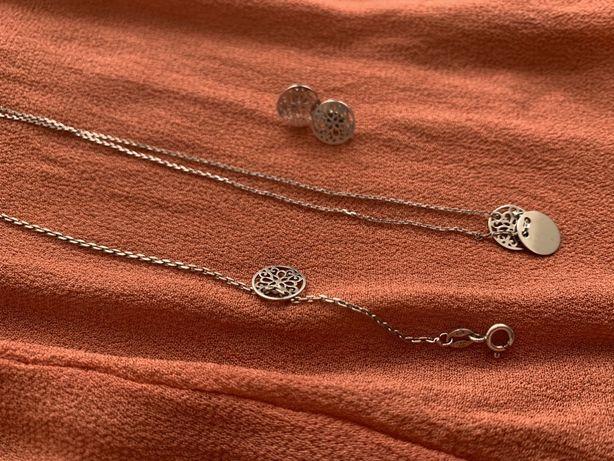 SET ABAŻUR srebrny komplet - kolczyki, bransoletka, celebrytka