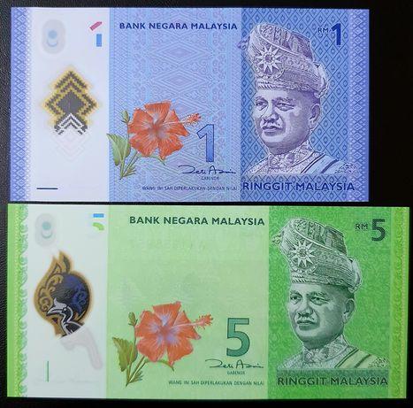 Banknoty z Malezja 1 i 5 ringit UNC polimer