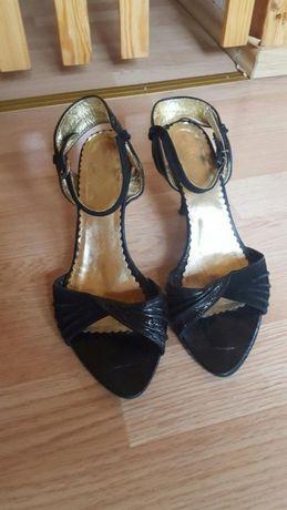 sandały szpilki quazi skóra lakierowane/zamszowe roz 38