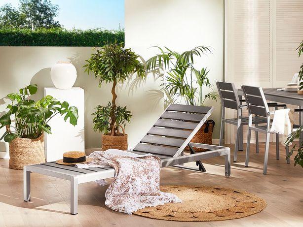 Espreguiçadeira de jardim em alumínio e madeira sintética cinzenta NARDO - Beliani