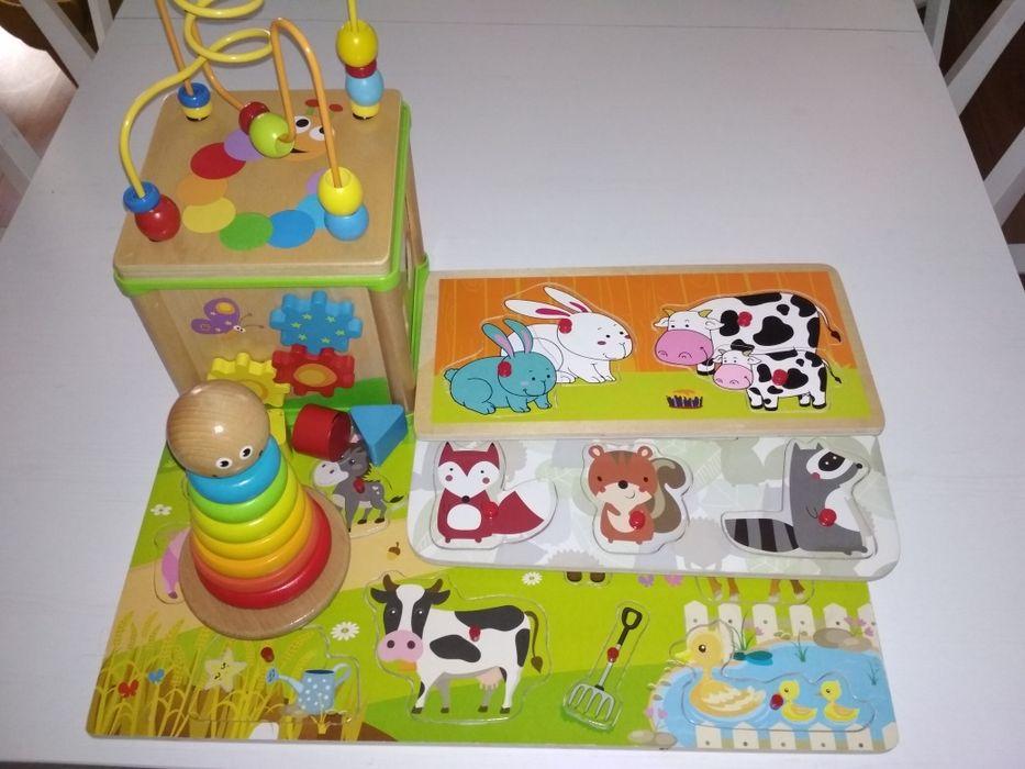 Zestaw drewnianych zabawek, klocki,mula, sorter Jarosław - image 1