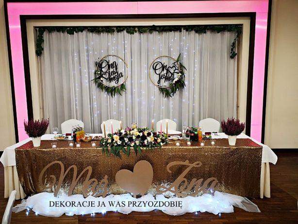 Duży napis Mąż Żona na wesele, dekoracje ślubne ZAMOŚĆ boho rustykalne