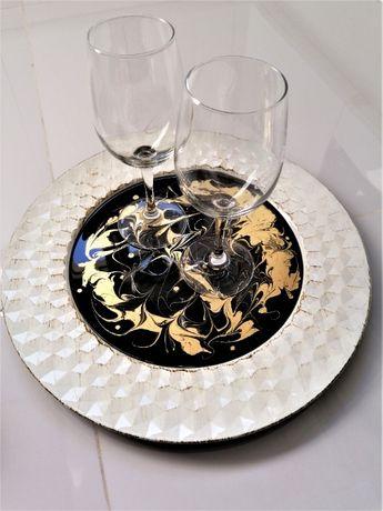 Taca dekoracyjna z żywicy epoksydowej Czarno złota Decoczar
