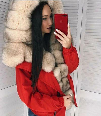 Шикарная зимняя куртка,бомбер с мехом песца
