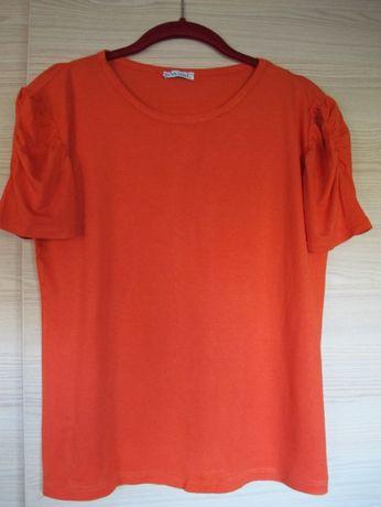bluzka wiskoza elastan L 42 letnia damska pomarańczowa krótki rękaw