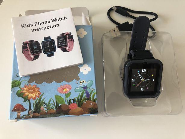NOWY Zegarek smartwatch GSM dla dzieci czarny 7 gier SOS Aparat