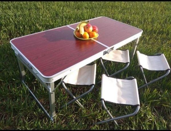 Усиленный складной стол для пикника + 4 стула, алюминиевый раскладной