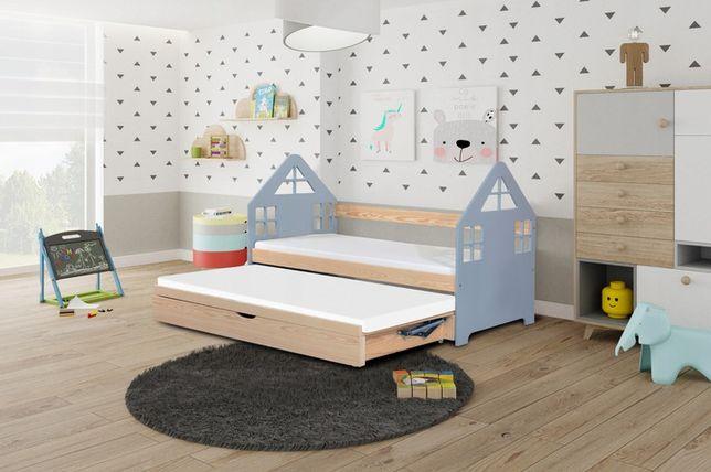 Łóżko parterowe dwuosobowe DOMEK z wysuwanym spaniem + materace gratis