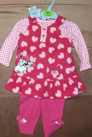 Nowy Disney Bluzeczka, legginsy, tunika/ sukienka rozm 6-9mies 74cm