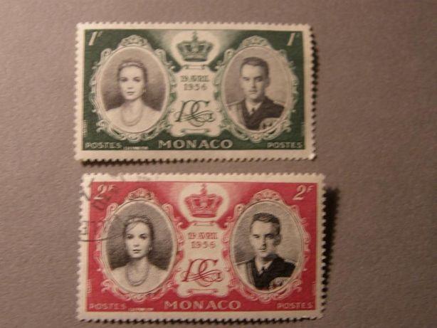 Коллекционная пара Марки Монако 1956г. Свадьба Грейс Келли и Ренье rar