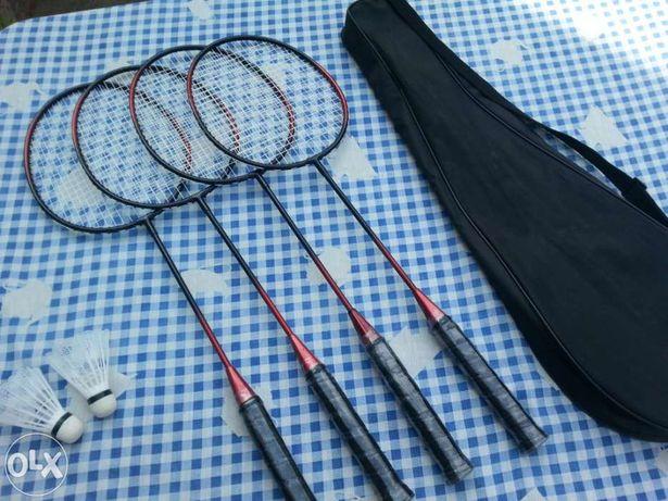 4 Raquetes de badminton novas c/bolsa + 2 volantes novos