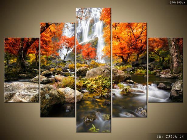 Obraz na płótnie, Jesienny Wodospad, atrakcyjna cena, płótno Canvas