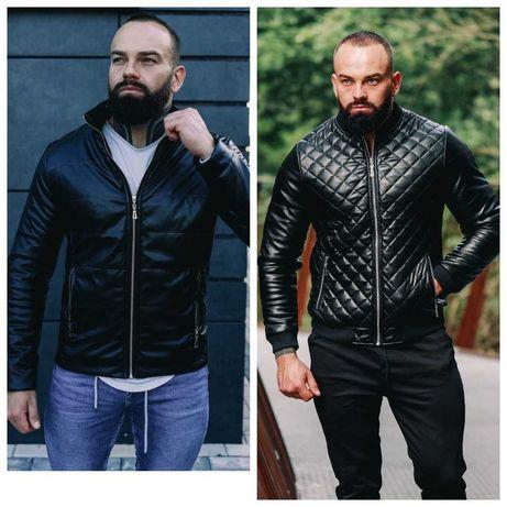 Мужская осенняя кожаная черная куртка, мужской черный бомбер в ромбик
