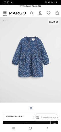Jeansowa sukienka Mango w liście r. 98