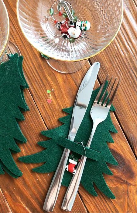 Новогодний декор. Фетровая елочка для приборов. Одесса - изображение 1