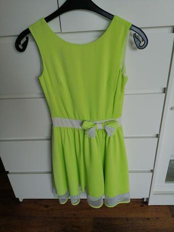 Limonkowa zielona sukienka s 36 zamek kokardka