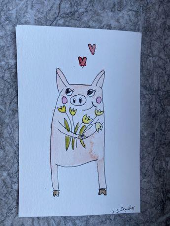 Kartka okolicznościowa urodzinowa imieninowa dzień mamy świnka tulipan